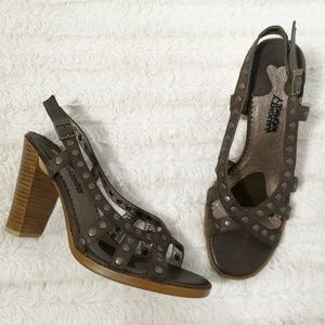 NAUGHTY MONKEY Brown Studded Heels Size 8